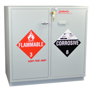 "SciMatCo SC2237 35"" Fully Lined Under-the-Counter Combination Acid/Flammables Cabinet with Self-Closing Door"
