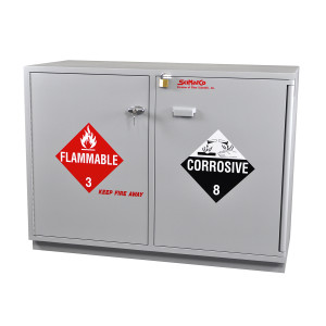 """SciMatCo SC2047 47"""" Partially Lined Under-the-Counter Combination Acid/Flammables Cabinet with Self-Closing Door"""