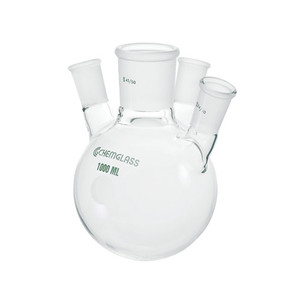 Chemglass CG-1532-15 5000mL Heavy Wall 4 Neck Round Bottom Flask with Angled 20°