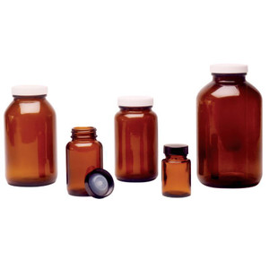 Chemglass CG-820-01 Wide Mouths Amber Glass 33-400 GPI Thread Bottle