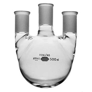 Kimble Full Length Three Vertical Neck Round Bottom Flasks