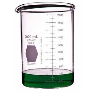 Kimble Low Form Heavy Duty Beakers, 2000ml, Case/8