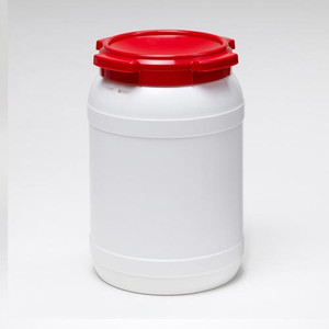 Small Shipping Drum, 20 Liter (5.3 gal), White with Red Lid, case/4