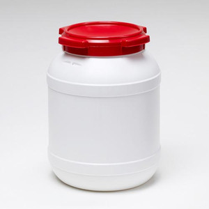 Small Shipping Drum, 26 Liter (6.9 gal), White with Red Lid, case/3