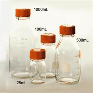 Pyrex® Media Bottle, 25mL, GL25 Cap, case/10