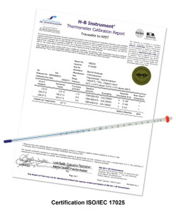 H-B Durac Plus 0 to 300f Calibrated Organic Liquid Fill 76mm Immersion Thermometer - Certificate View