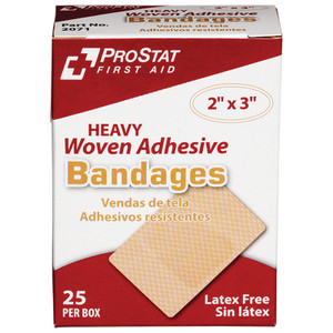 """Heavy Duty Woven Adhesive Bandages, 2"""" x 3"""", 24 boxes of 25"""