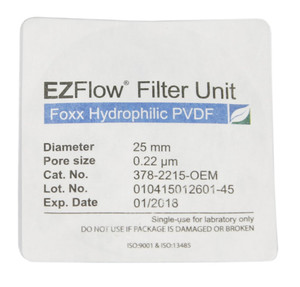 EZFlow 25mm Sterile Syringe Filter Hydrophilic PVDF, 100/pack