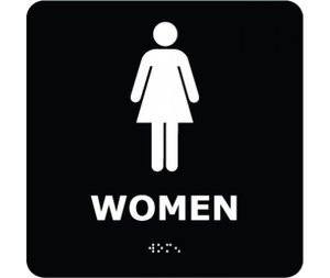 "Message & Graphic Ada Braille Female Figure in Black on Engraved Type Print, 8"" x 8"""