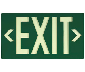 Message & Graphic Exit Sign in Glow (Yellow) on Green Color with Bracket