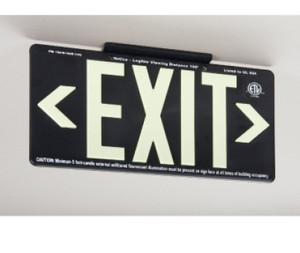 100Ft Visible Graphic Exit Sign in Glow (Yellow) on Black Color with Bracket