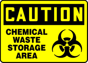 "OSHA Safety Sign - CAUTION: Chemical Waste Storage Area, 10"" x 14"", Pack/10"