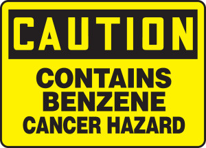 "OSHA Safety Sign - CAUTION: Contains Benzene- Cancer Hazard, 10"" x 14"", Pack/10"