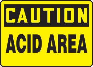 "OSHA Safety Sign - CAUTION: Acid Area, 10"" x 14"", Pack/10"