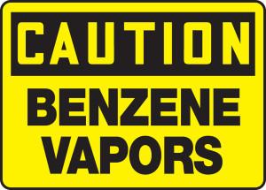 """OSHA Safety Sign - CAUTION: Benzene Vapors, 10"""" x 14"""", Pack/10"""