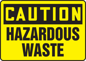 "OSHA Safety Sign - CAUTION: Hazardous Waste, 10"" x 14"", Pack/10"