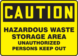 "OSHA Safety Sign - CAUTION: Hazardous Waste Storage Area Unauthorized Persons Keep Out, 10"" x 14"", Pack/10"