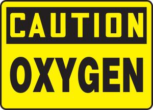 "OSHA Safety Sign - CAUTION: Oxygen, 10"" x 14"", Pack/10"