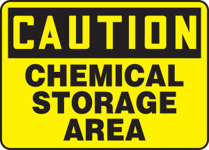 "OSHA Caution Chemical Safety Sign: Chemical Storage Area, 10"" x 14"", Pack/10"