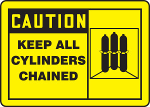 "OSHA CAUTION Sign: Keep All Cylinders Chained, 10 x 14"", Each"