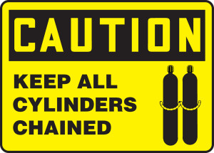 "OSHA Safety Sign-CAUTION: Keep All Cylinders Chained, 10"" x 14"", Each"
