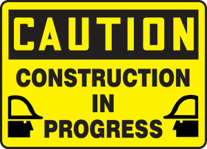 "OSHA CAUTION Sign: Construction In Progress, 10 x 14"", Each"