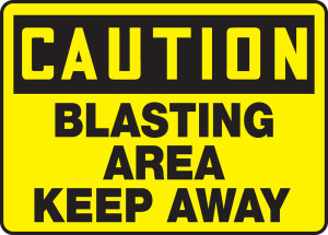 "OSHA CAUTION Sign: Blasting Area-Keep Away, 10 x 14"", Each"