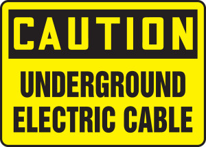 """OSHA Safety Sign - CAUTION: Underground Electric Cable, 10"""" x 14"""", Pack/10"""