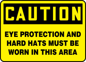 """OSHA Safety Sign - CAUTION: Eye Protection And Hard Hats Must Be Worn In This Area, 10"""" x 14"""", Pack/10"""
