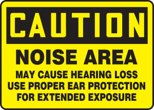 "OSHA Safety Sign - CAUTION: Noise Area, 10"" x 14"", Pack/10"