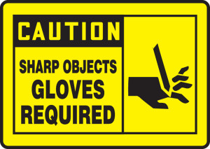 "OSHA Safety Sign - CAUTION: Sharp Objects, 10"" x 14"", Pack/10"