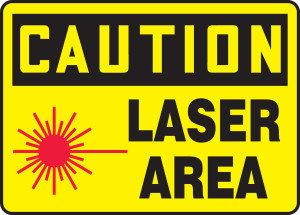 "OSHA Safety Sign - CAUTION: Laser Area, 10"" x 14"", Pack/10"