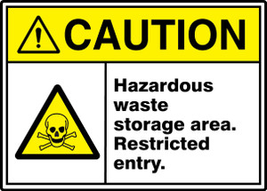 "ANSI ISO Safety Sign - CAUTION: Hazardous Waste Storage Area - Restricted Entry., 10"" x 14"", Pack/10"