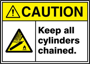 "ANSI ISO Safety Sign - CAUTION: Keep All Cylinders Chained., 10"" x 14"", Pack/10"