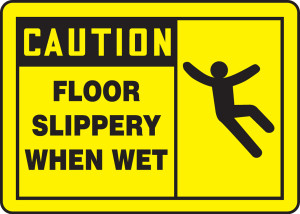 "OSHA Safety Sign - CAUTION: Floor Slippery When Wet, 10"" x 14"", Pack/10"
