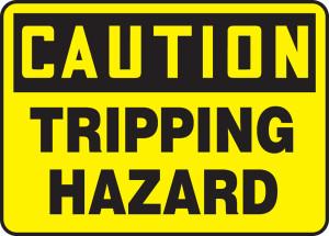 """OSHA Safety Sign - CAUTION: Tripping Hazard, 10"""" x 14"""", Pack/10"""