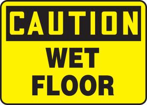 "OSHA Safety Sign - CAUTION: Wet Floor, 10"" x 14"", Pack/10"