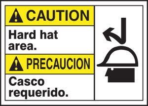 "Bilingual ANSI Caution Visual Alert Safety Sign: Hard Hat Area, 10"" x 14"", Pack/10"