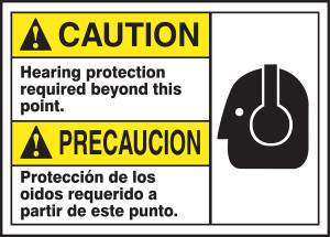 "Spanish (Mexican) Bilingual ANSI Caution Visual Alert Safety Sign: Hearing Protection Required Beyond This Point, 10"" x 14"", Pack/10"
