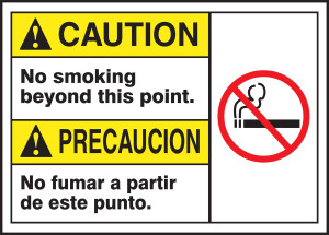 "BILINGUAL ANSI SIGN - NO SMOKING, 10"" x 14"", Pack/10"