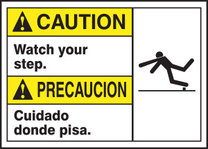 "BILINGUAL ANSI SIGN - SLIPS, TRIPS, FALLS, 10"" x 14"", Pack/10"