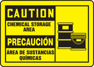 "Bilingual OSHA Safety Sign - CAUTION: Chemical Storage Area, 10"" x 14"", Pack/10"