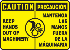 "Bilingual OSHA Caution Safety Sign - Keep Hands Out Of Machinery, 10"" x 14"", Pack/10"