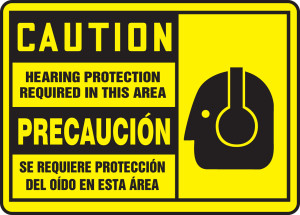 """Bilingual OSHA Safety Sign - CAUTION: Hearing Protection Required In This Area, 10"""" x 14"""", Pack/10"""