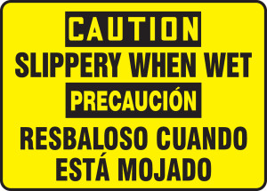 "Bilingual OSHA Safety Sign - CAUTION: Slippery When Wet, 10"" x 14"", Pack/10"
