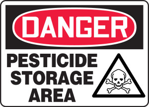 "OSHA Safety Sign - DANGER: Pesticide Storage Area, 10"" x 14"", Pack/10"