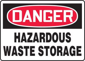 "OSHA Safety Sign - DANGER: Hazardous Waste Storage, 10"" x 14"", Pack/10"