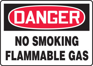 """OSHA Safety Sign - DANGER: No Smoking Flammable Gas, 10"""" x 14"""", Pack/10"""