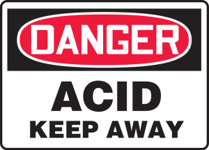 "OSHA Safety Sign - DANGER: Acid - Keep Away, 10"" x 14"", Pack/10"