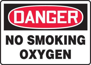 "OSHA Safety Sign - DANGER: No Smoking - Oxygen, 10"" x 14"", Pack/10"
